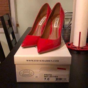 Steve Madden 4 inch red patent heels